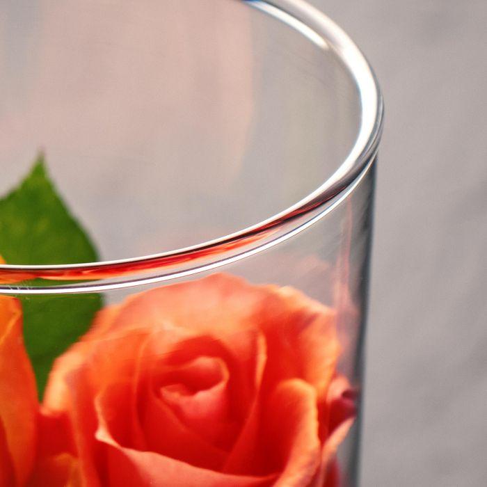 Runde Vase mit Gravur - Blumenherz für Oma