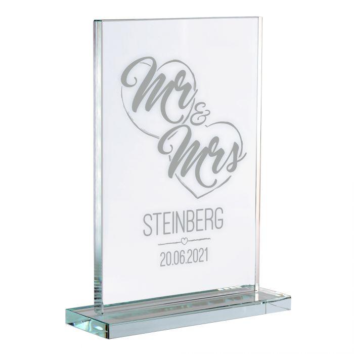 Personalisierter Glaspokal zur Hochzeit - Mr and Mrs