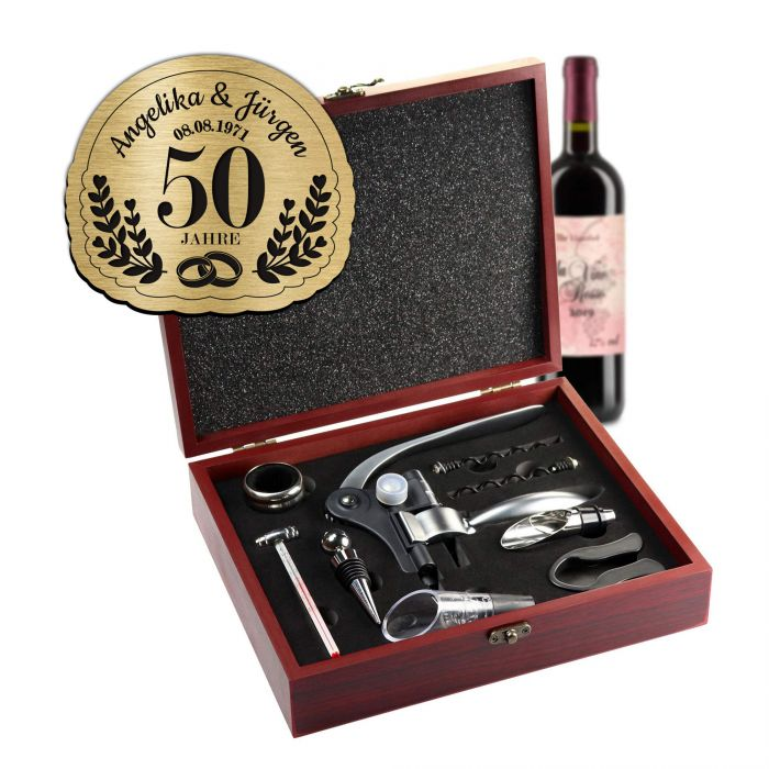 Wein Sommelier Set mit Gravur zur goldenen Hochzeit