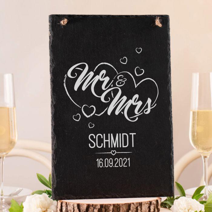 Große Schiefertafel mit Gravur - Mr and Mrs