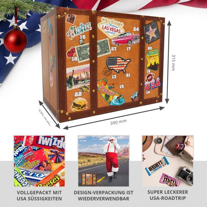 USA Süßigkeiten Adventskalender - Reisekoffer