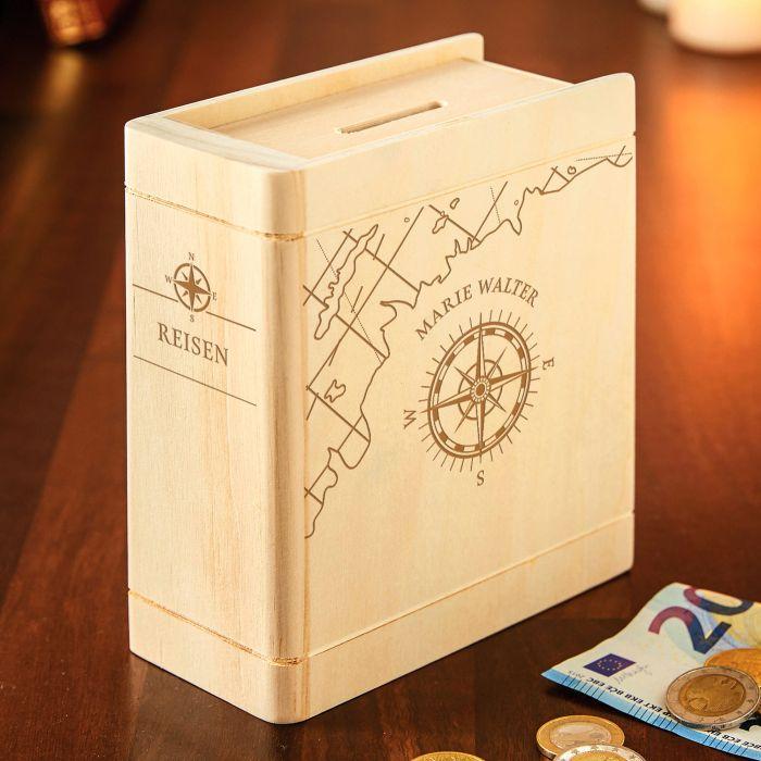 Personalisiertes Sparbuch mit Kompass Gravur