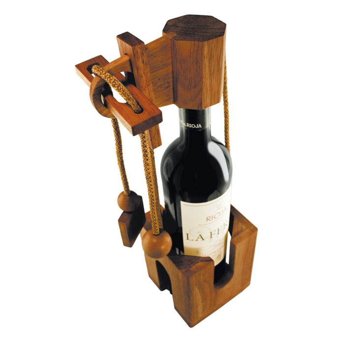 Puzzle casse-tête bouteille en bois précieux - foncé