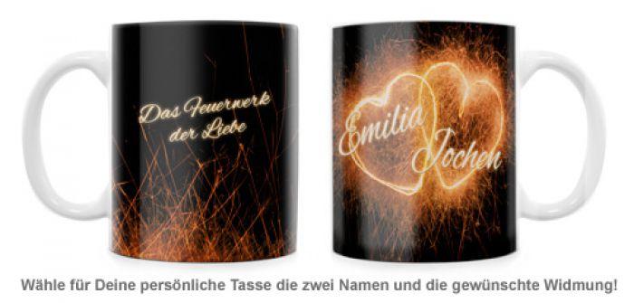 Feuerwerk der Liebe - personalisierte Tasse