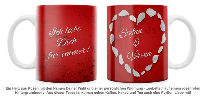 Rosenherz - personalisierte Tasse
