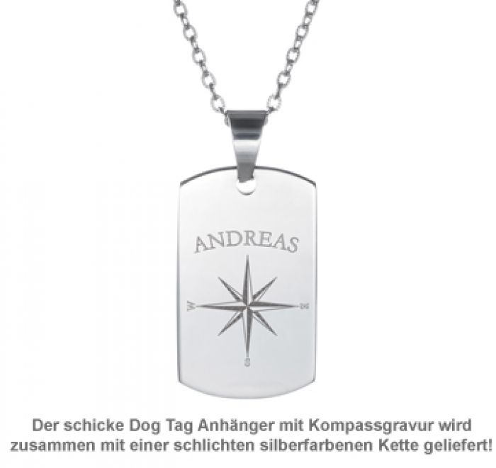 Army Dog Tag Kette mit Gravur - Kompass