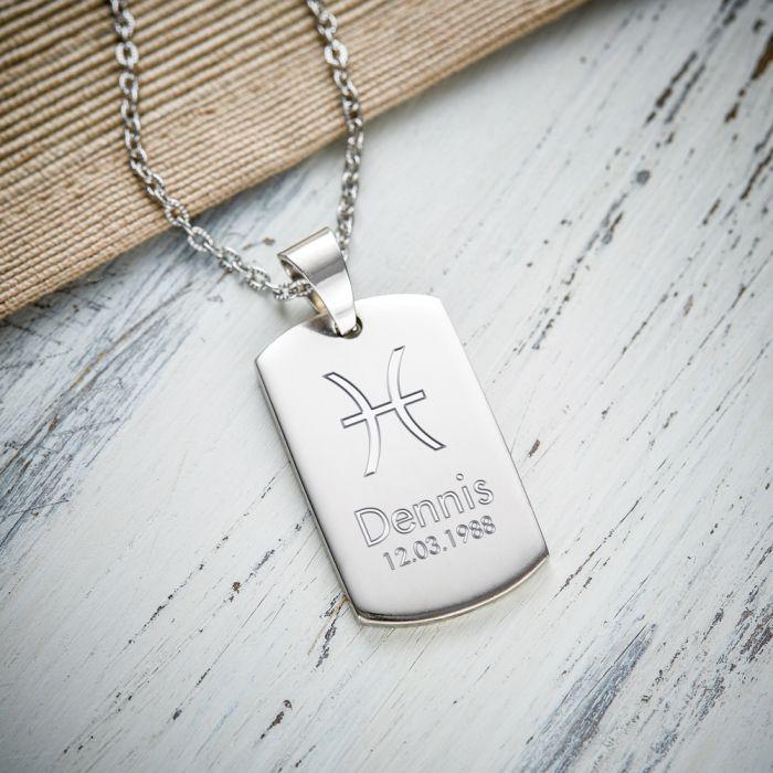 Army Dog Tag Kette mit Gravur - Sternzeichen Symbole