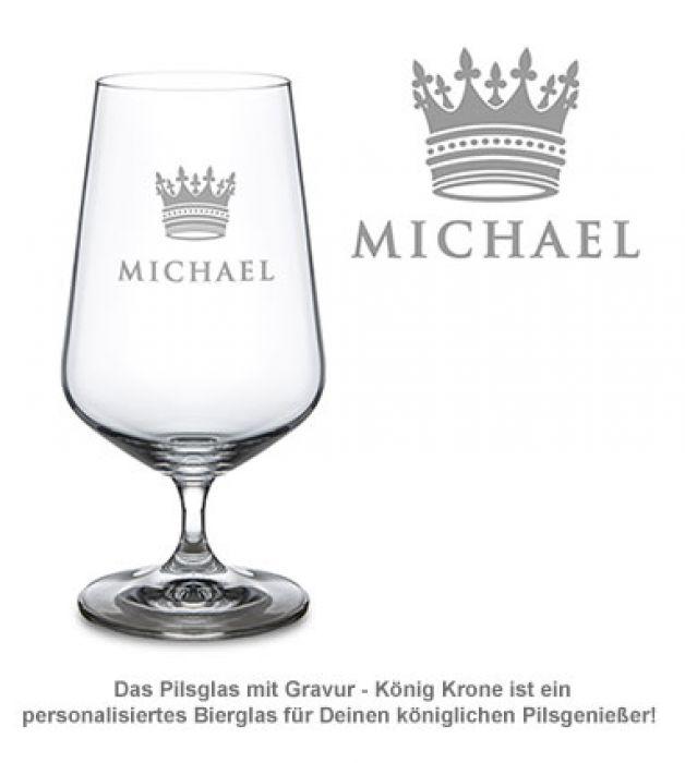 Bierglas mit Gravur - König Krone
