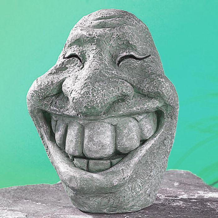 Figurine décorative en pierre pour le jardin – tête souriante