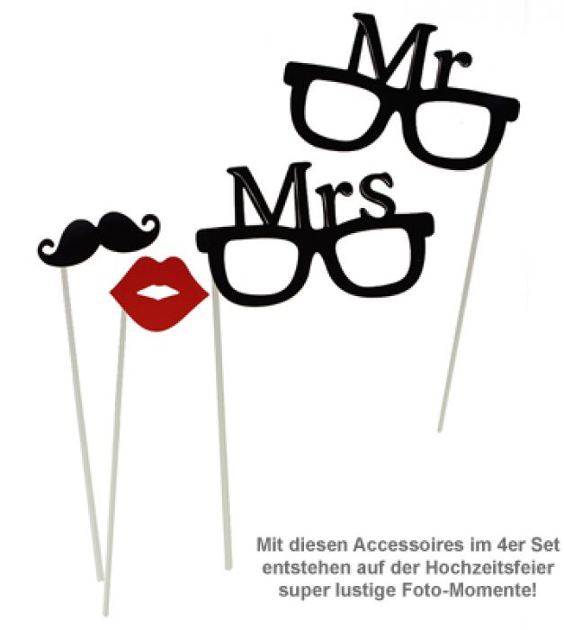 foto accessoires zur hochzeit mr and mrs set f r photo booth. Black Bedroom Furniture Sets. Home Design Ideas