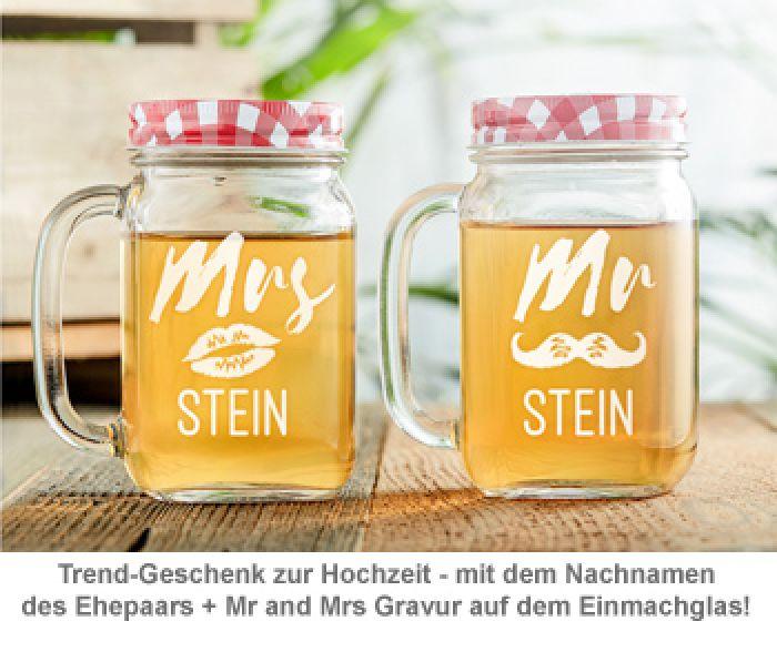 Gläser mit Deckel und Strohhalm Set - Mr and Mrs