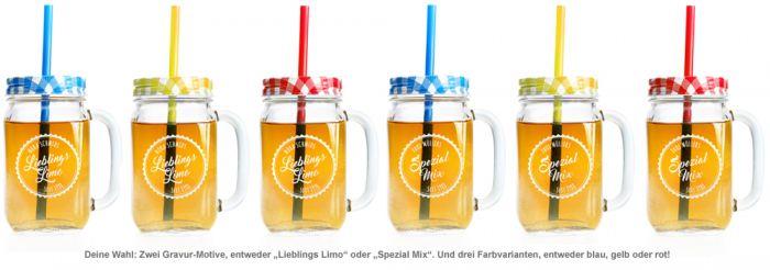 Glas mit Deckel und Strohhalm - personalisiert