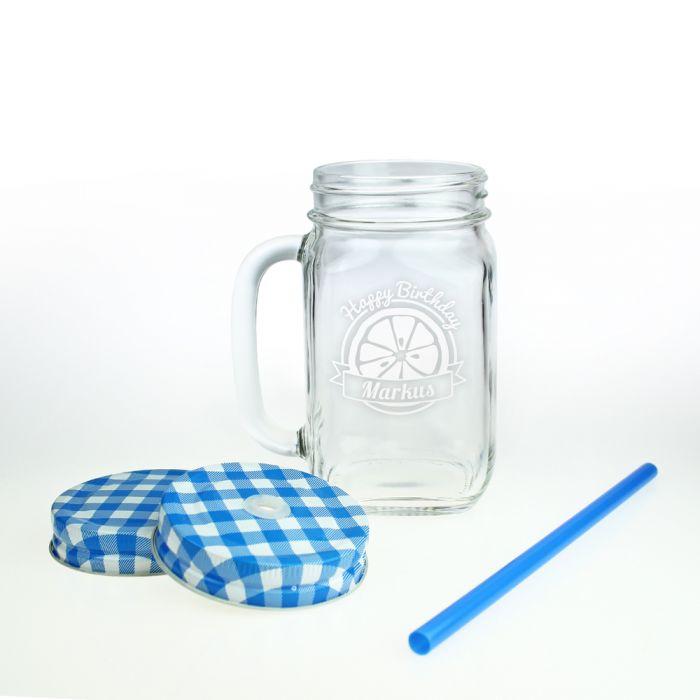 glas mit deckel und strohhalm mason jars zum geburtstag. Black Bedroom Furniture Sets. Home Design Ideas