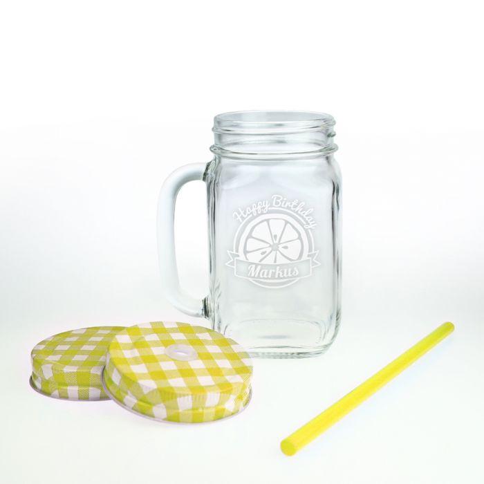 Glas mit Deckel und Strohhalm zum Geburtstag
