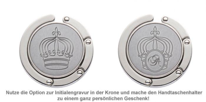 Handtaschenhalter mit Krone und Initialen Gravur