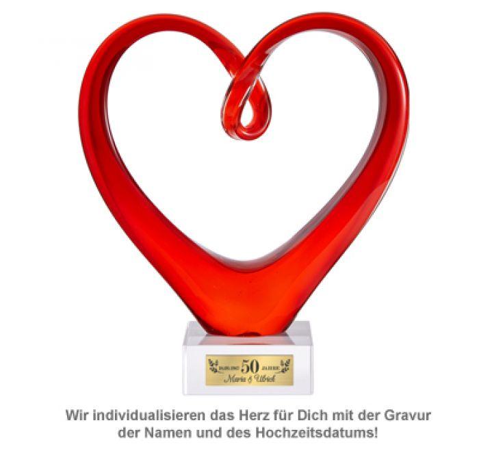 Personalisiertes Herz aus Glas mit Gravur – Goldene Hochzeit