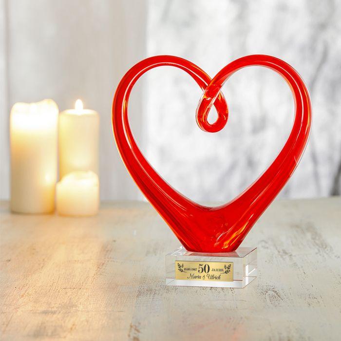 Herz aus Glas mit Gravur - Goldene Hochzeit