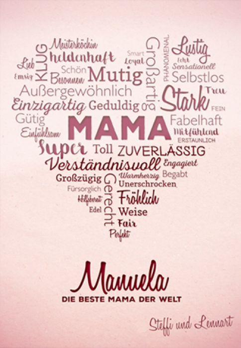 Herz aus Worten - personalisiertes Bild für Mama