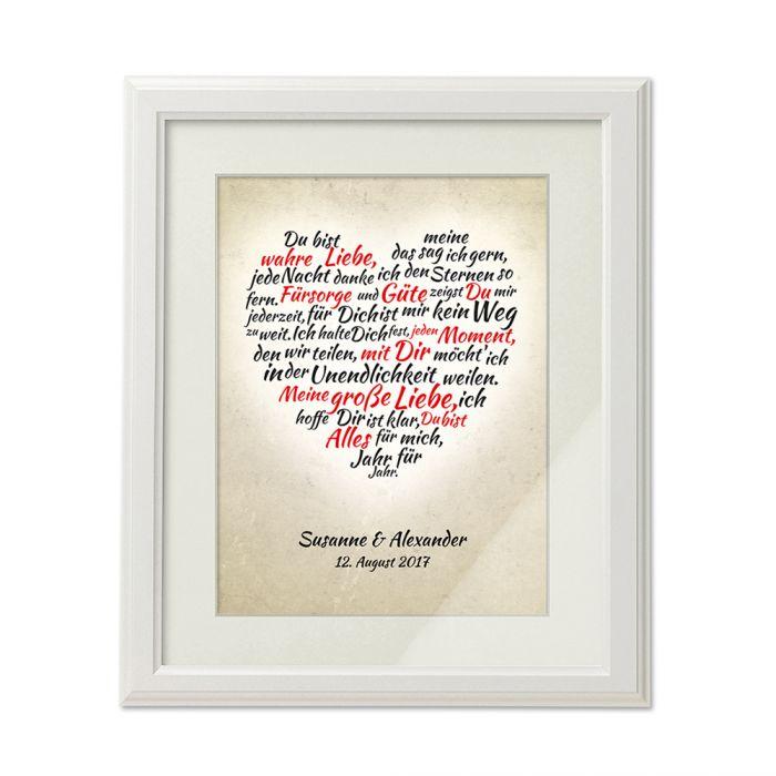 Herz aus Worten - personalisiertes Bild Weiß