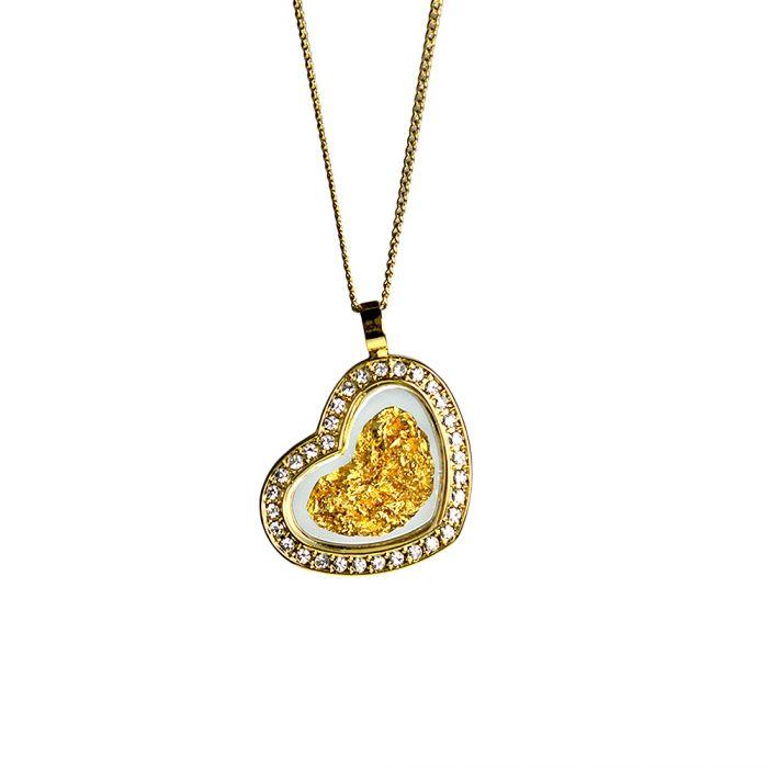 Herz Halskette mit 23 Karat Blattgold und Strass