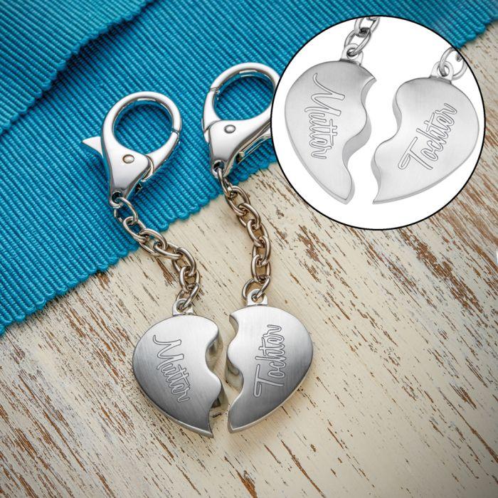 Herz Schlüsselanhänger - Mutter Tochter