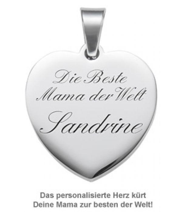 Herzanhänger graviert mit Kette - Beste Mama