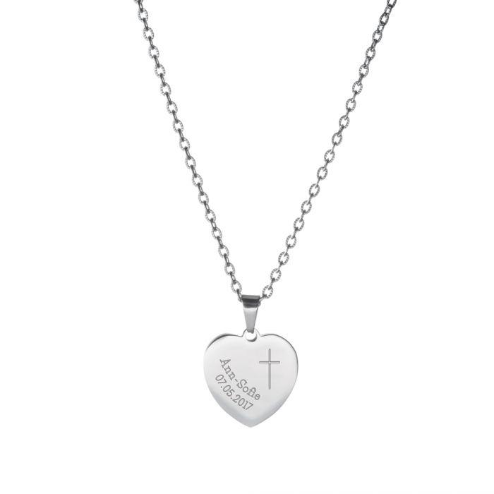 Herzanhänger Silber graviert mit Kette - Kommunion