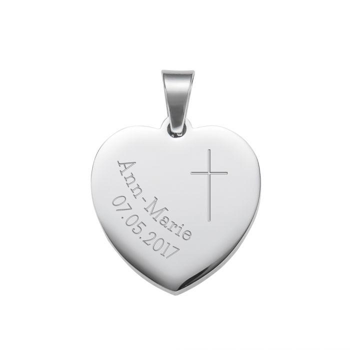 Herzanhänger Silber graviert mit Kette - Konfirmation