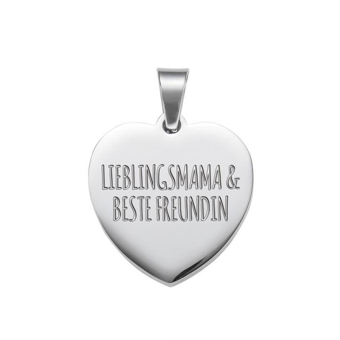 Herzanhänger Silber graviert mit Kette - Lieblingsmama