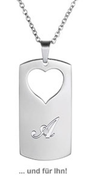 Herzanhänger Set für Paare - Initialen Gravur