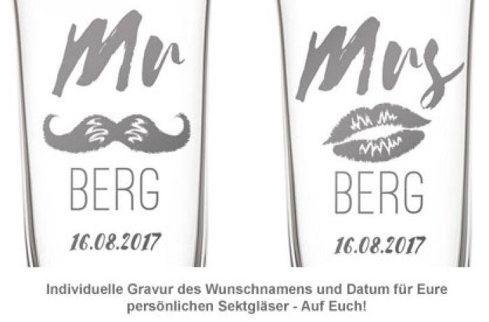 Herzen Sektgläser - Mr and Mrs mit Namensgravur