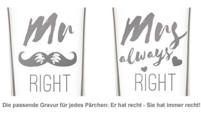Herzen Sektgläser - Mr and Mrs Right