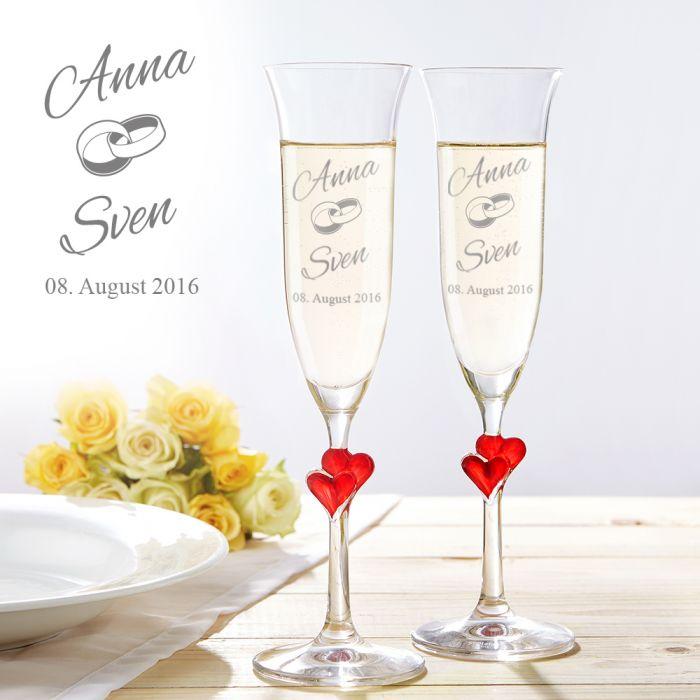 Herzen Sektgläser zur Hochzeit