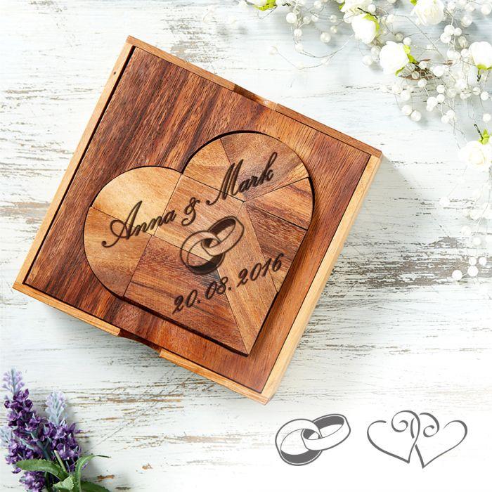 Holz Herz-Puzzle - Herz zur Hochzeit