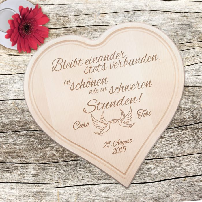 Holzherz Zur Hochzeit Mit Liebestauben Und Treuespruch Schones
