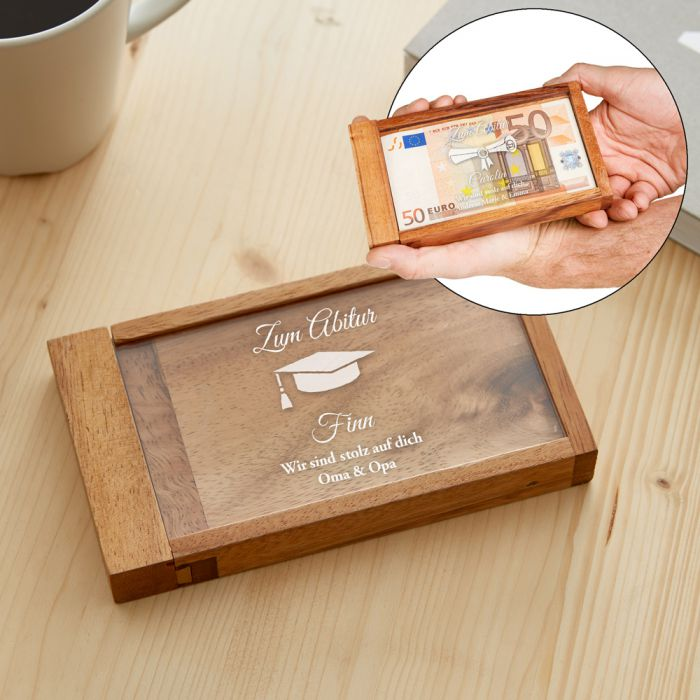 magische geldgeschenkbox zum abitur mit pers nlicher gravur. Black Bedroom Furniture Sets. Home Design Ideas
