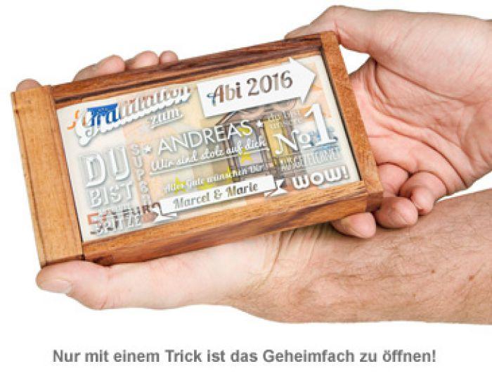 Magische Geldgeschenkbox zum Abitur - Collage