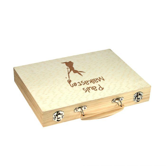 Malkasten Set mit Holzkoffer - Hasen Gravur