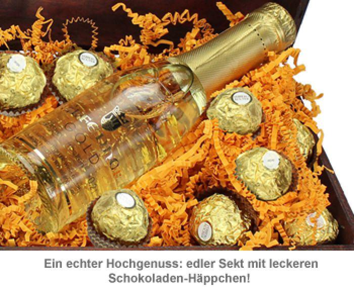 Minitruhe Goldschätzchen - Sekt und Schokolade