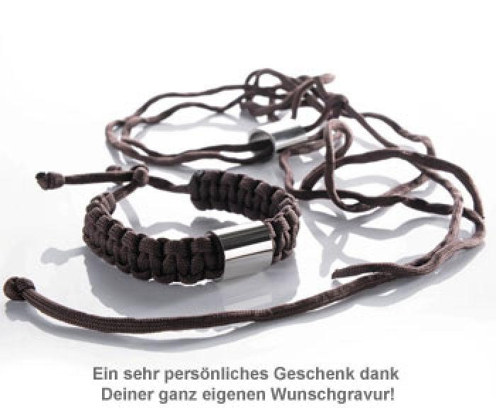 Paracord Armband graviert - Braun