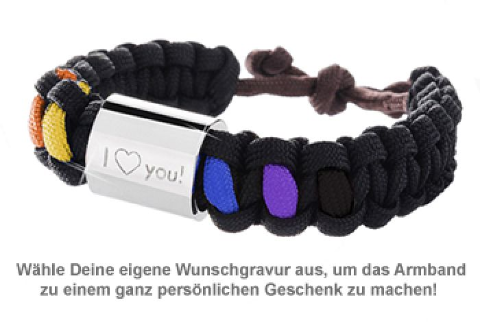 Hervorragend Graviertes Paracord Armband - Regenbogenfarben Unisex FY79