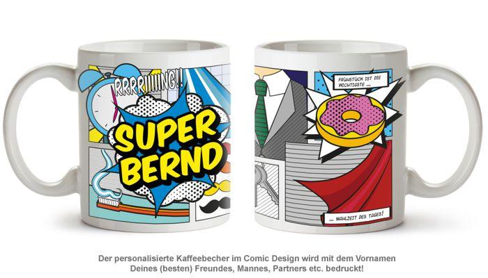Personalisierte Comic Tasse - Super Mann