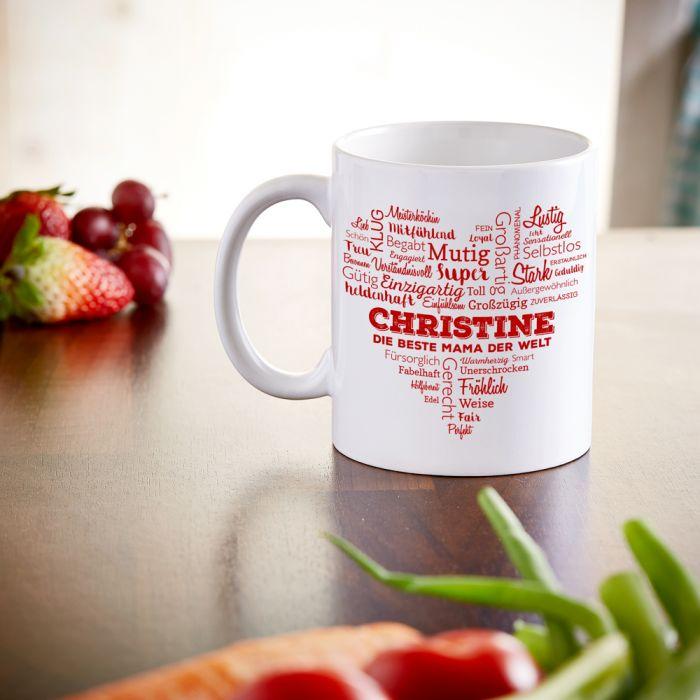 Personalisierte Tasse für Mama - Herz aus Worten