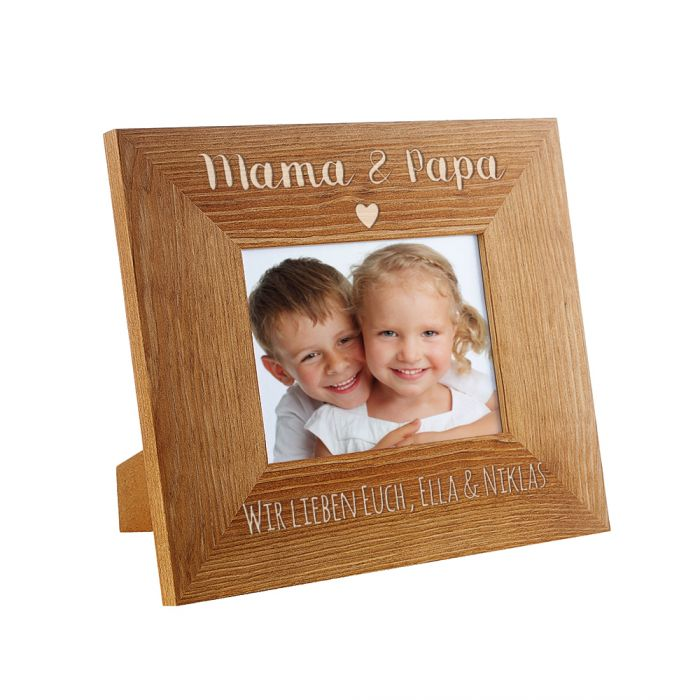 Personalisierter Bilderrahmen - Mama & Papa mit Herz