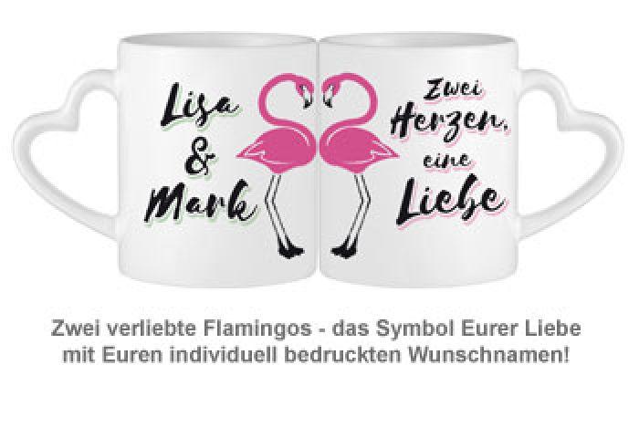Personalisiertes Herz Henkeltasse Set - Flamingo
