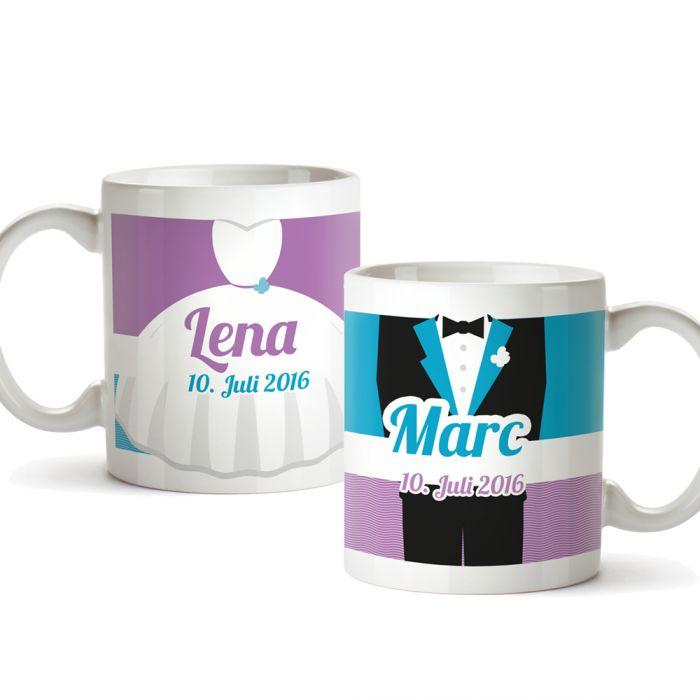 Personalisiertes Tassen Paar zur Hochzeit - Bunt