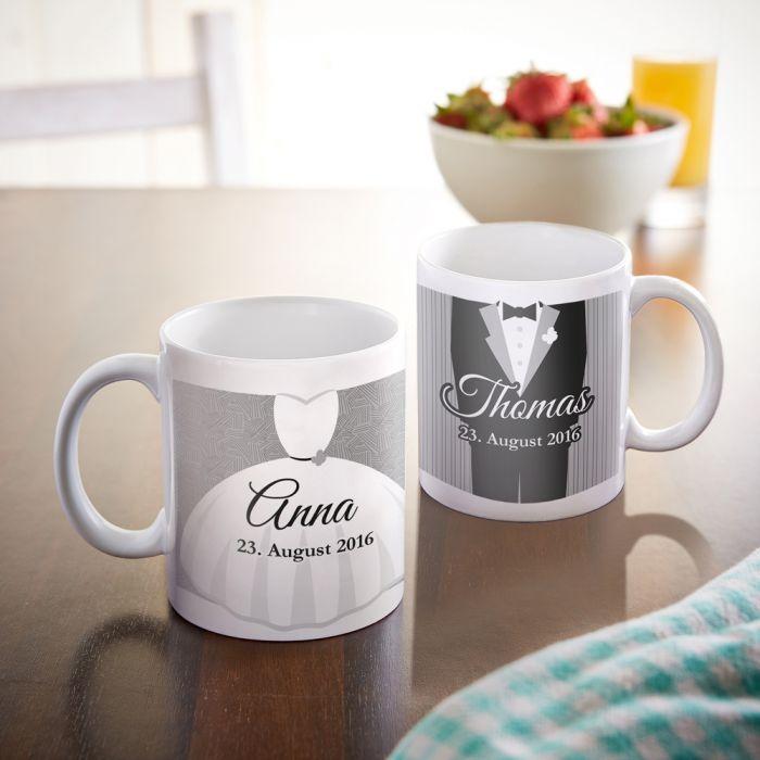 Personalisiertes Tassen Paar zur Hochzeit - Klassisch