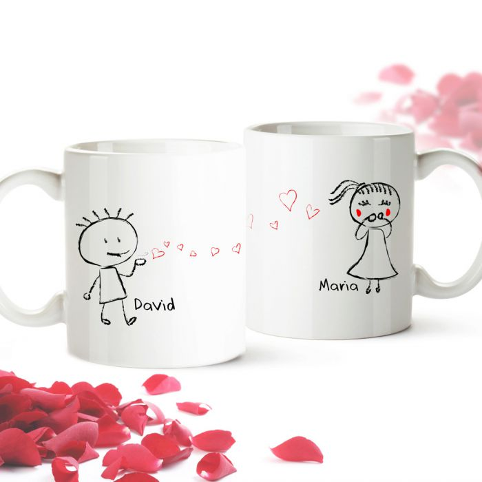 Personalisiertes Tassen Set - Liebespaar - süßes Geschenk für Paare