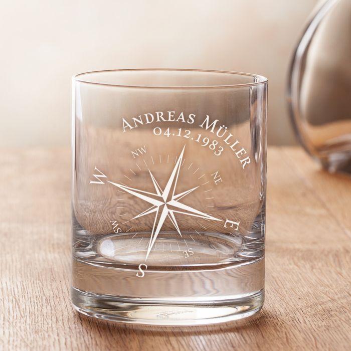 Personalisiertes Whiskyglas - Kompass