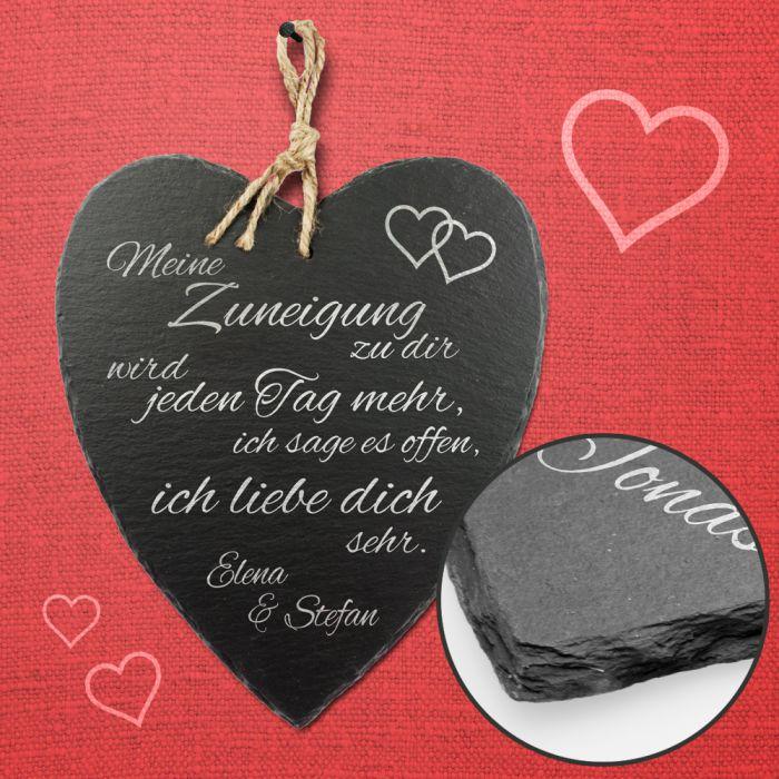 Schieferherz Liebe - personalisiert
